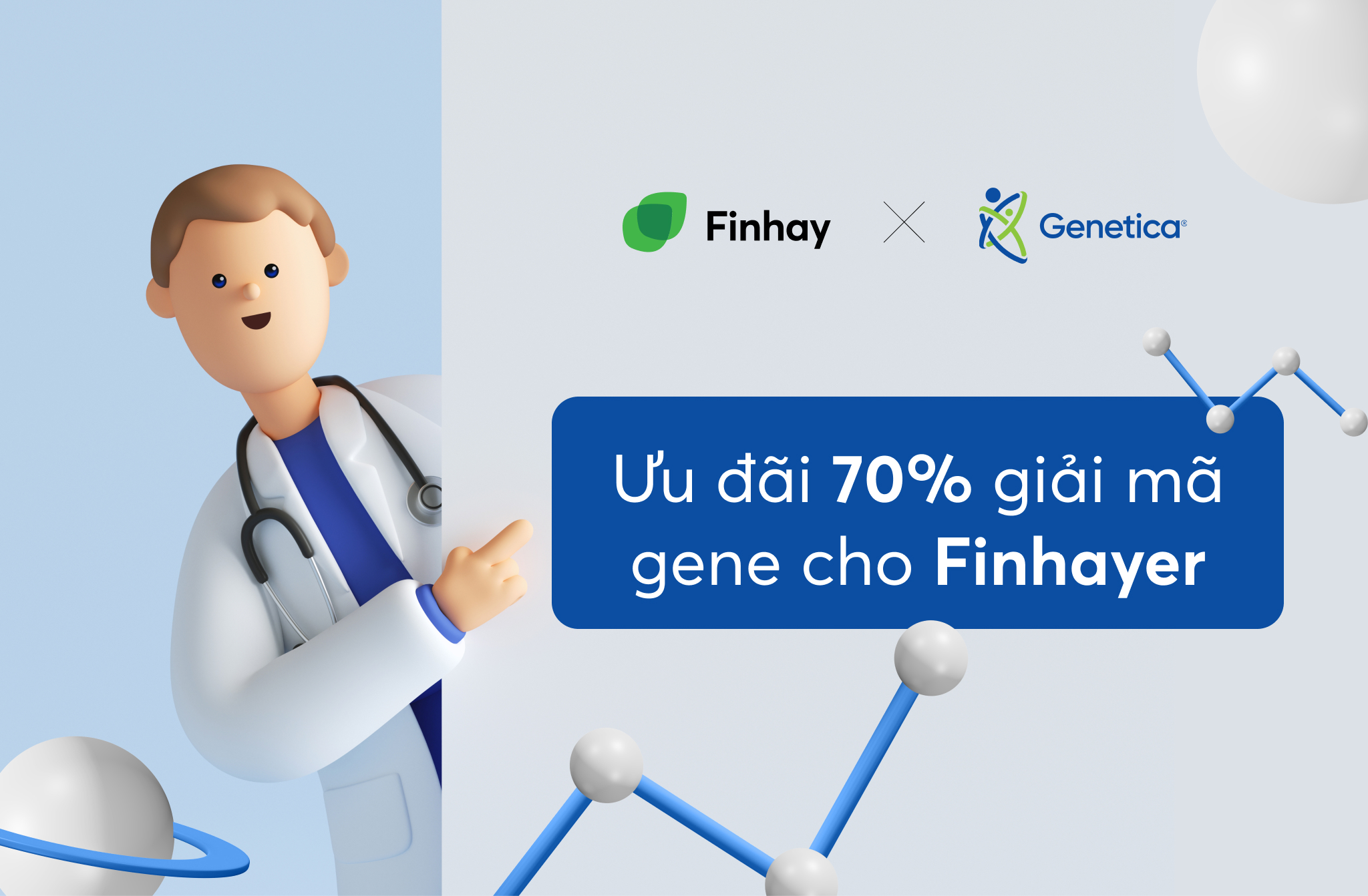 Ưu đãi tới 70% khi đăng ký dịch vụ giải mã gen của Genetica qua Finhay